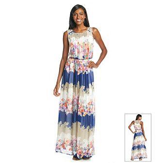 Jessica Simpson Crochet Back Floral Print Maxi Dress at www ...