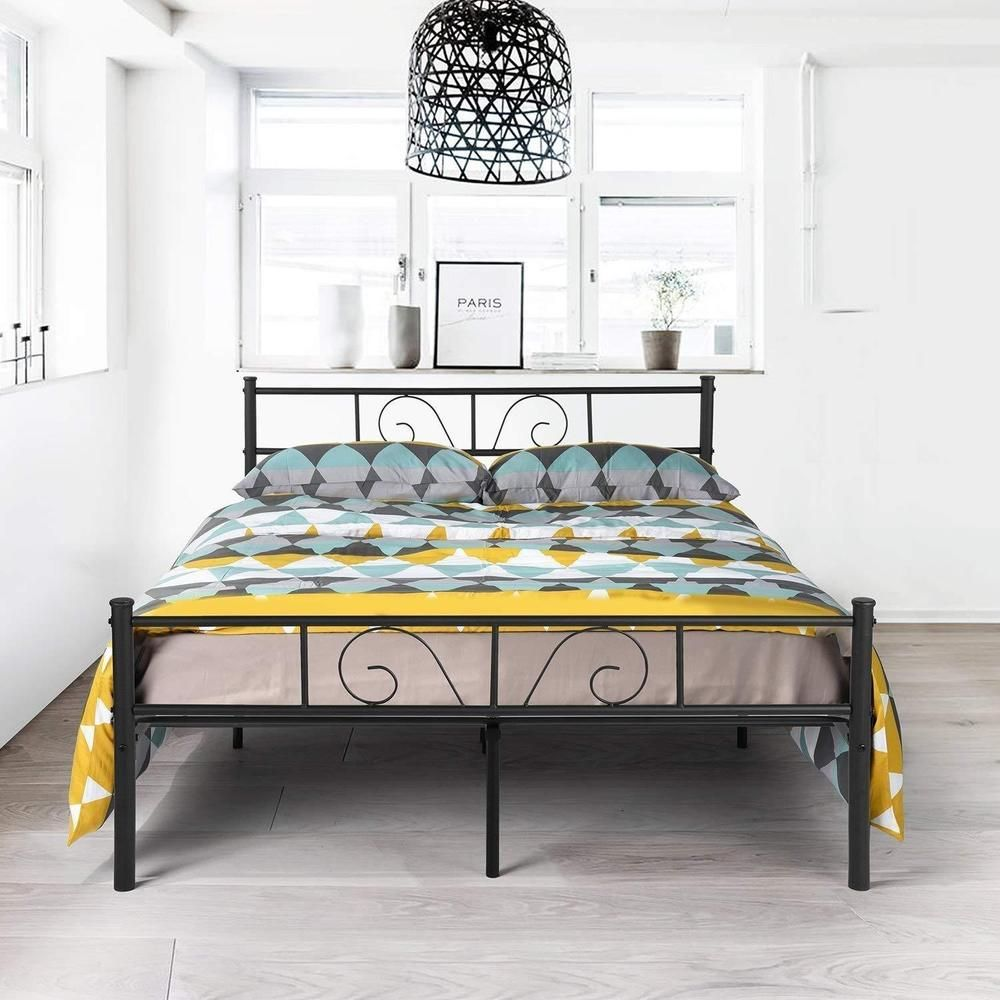 Victorian Platform Bed Durable Metal Slat Kit Bedroom Furniture Full Size Black Victorianplatformbed