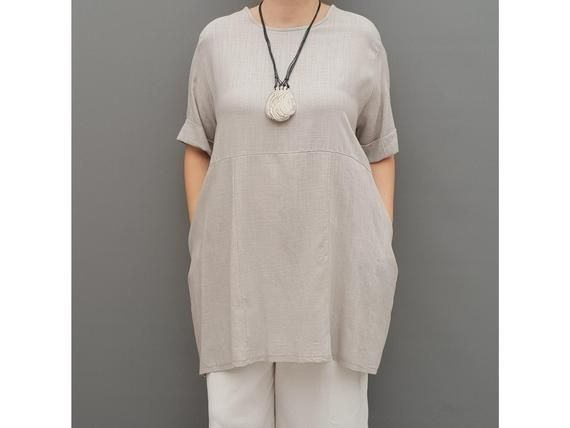 Linen Tunic Summer Top Loose Lagenlook Blouse Short Sleeve Plus Size   [l1064_grey] #linentunic