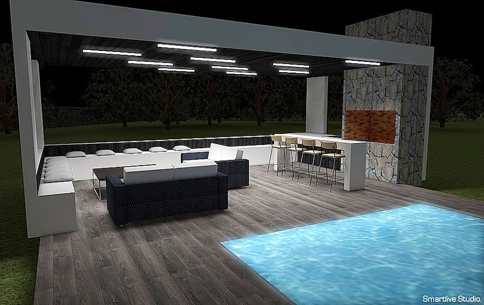 Quincho y piscina terrazas de estilo por smartlive studio
