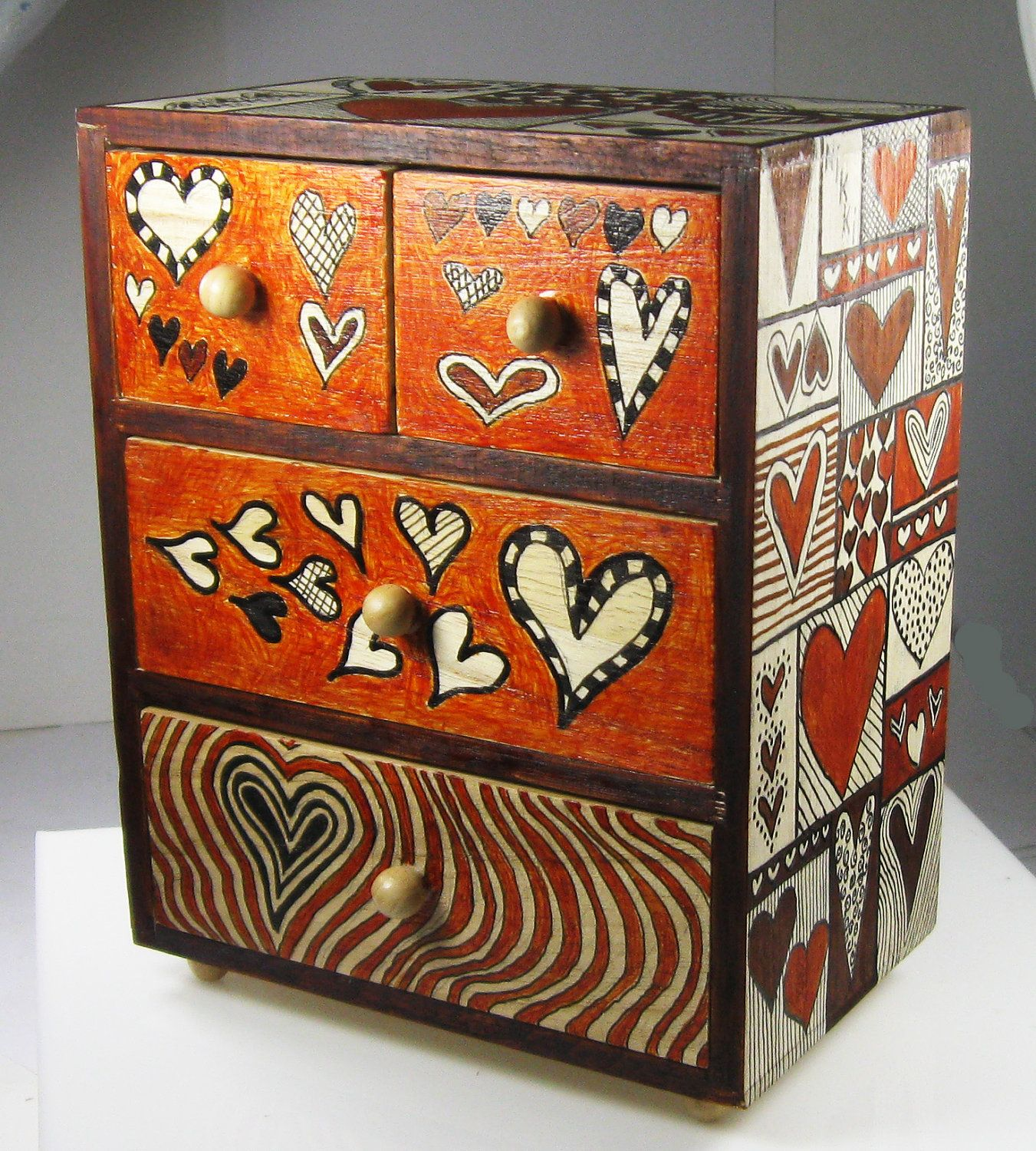 Hand Painted Wooden 4 Drawer Jewelry Box Wood Jewelry Box Handmade Jewelry Box Wooden Jewelry Boxes