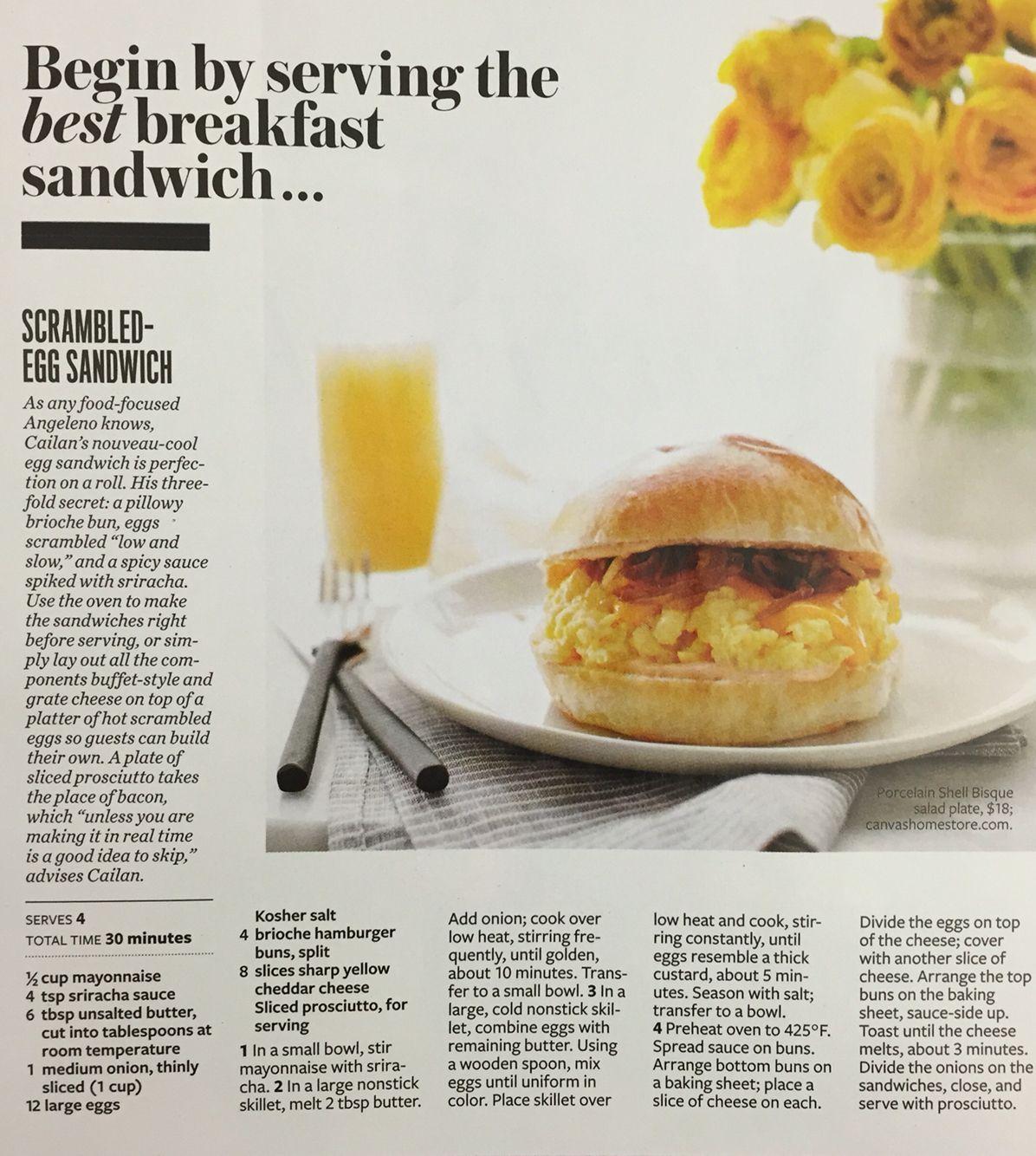 Scrambled egg breakfast sandwich