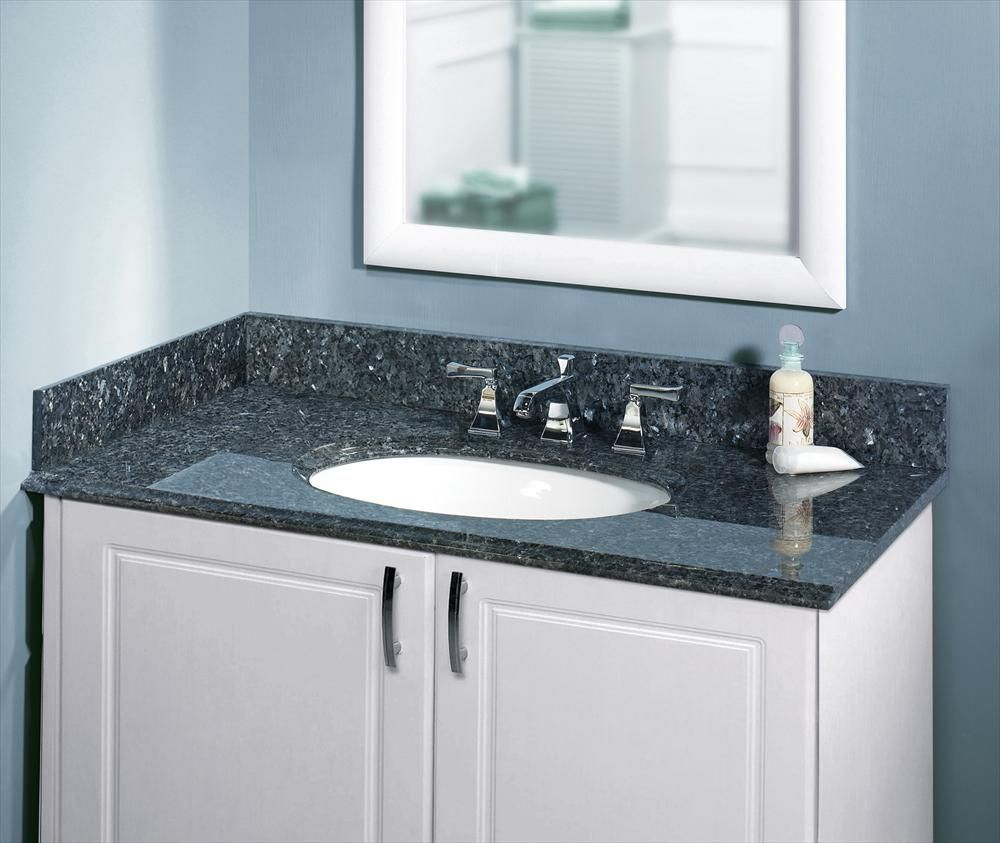 Builddirect Granite Vanity Top With Um Oval Bowl Blue Pearl Bathroom View