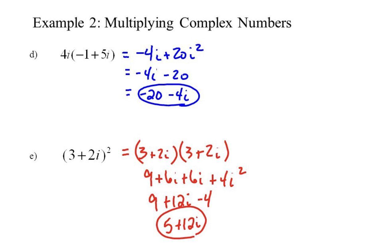 Multiplying Complex Numbers College Algebra Complex Numbers Algebra Adding and subtracting complex numbers