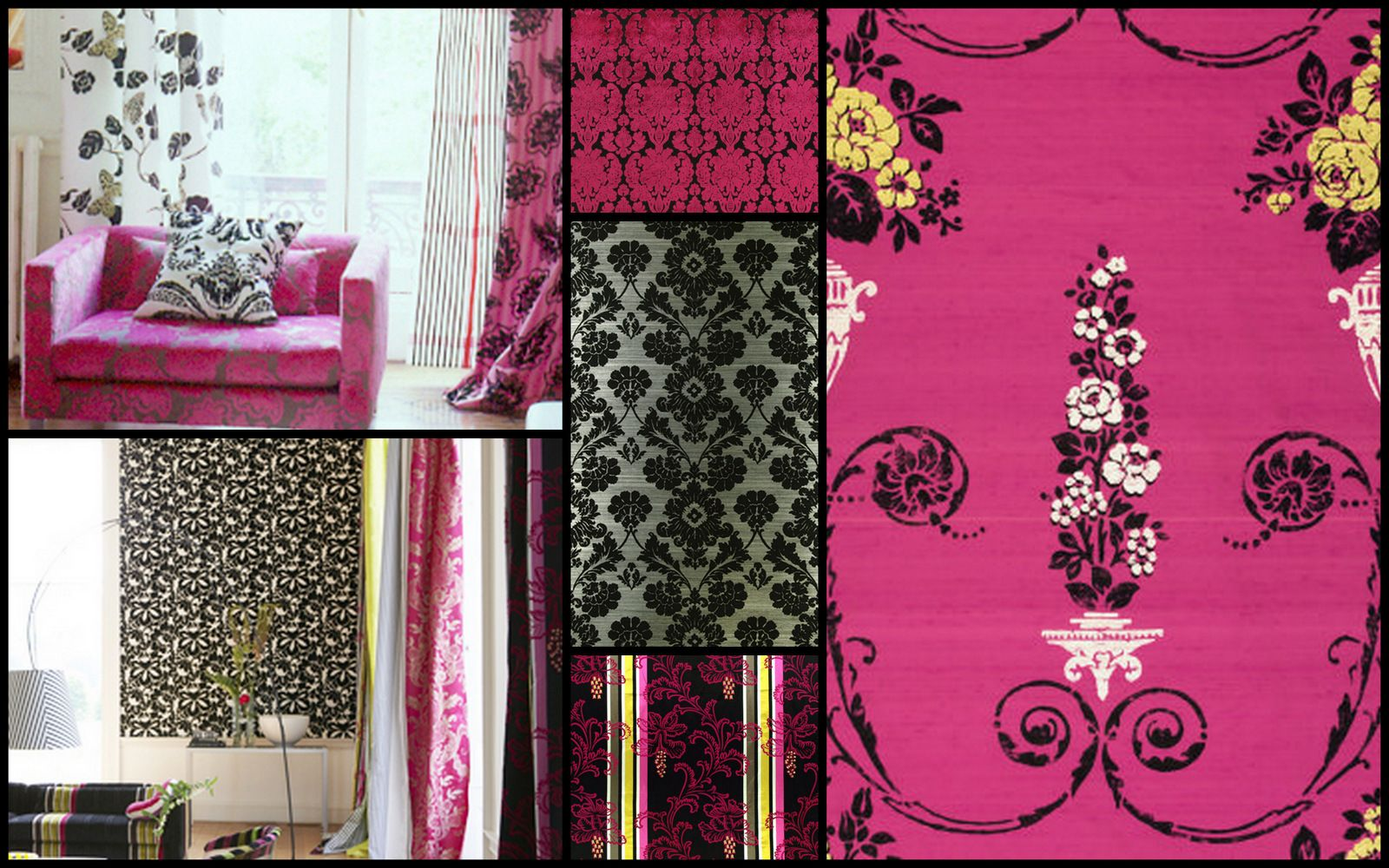 Decorating with Black White and and Hot Pink Designers Guild fabric ...