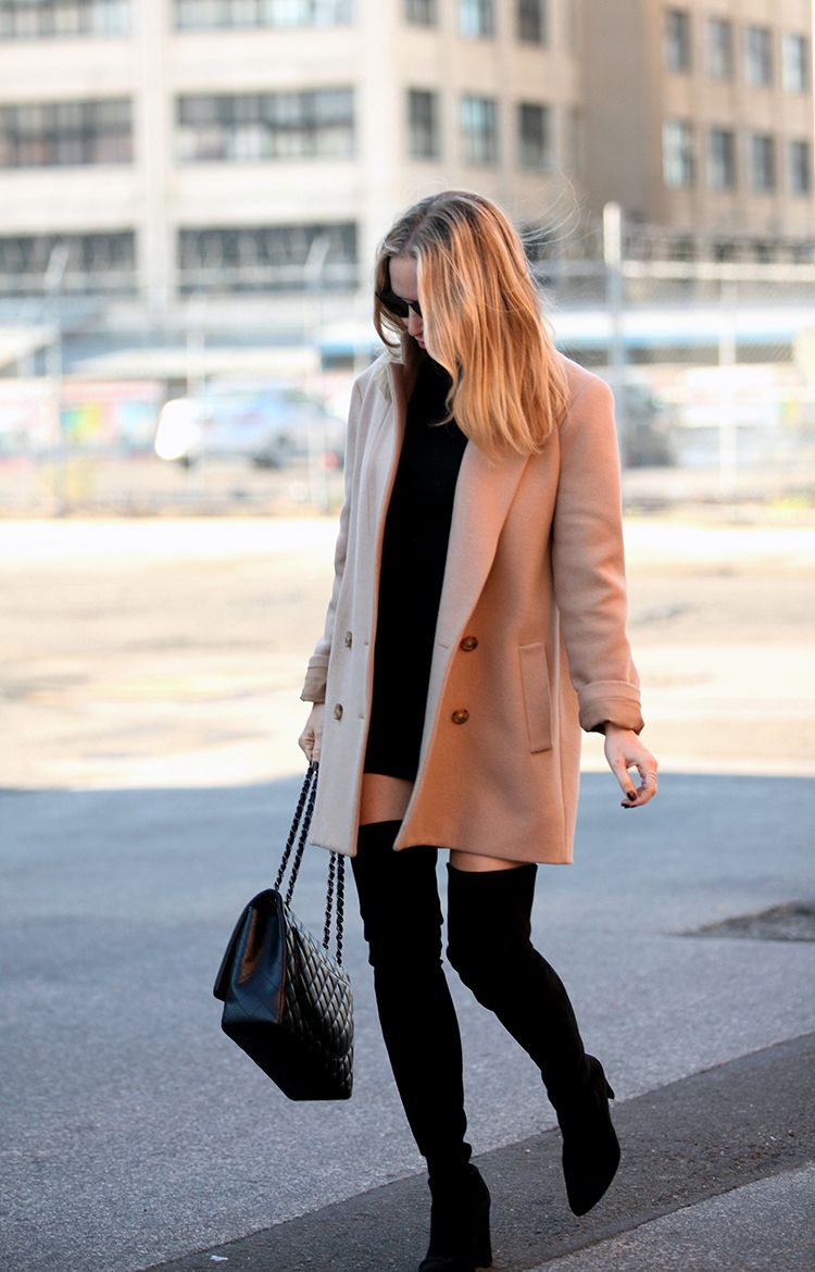 67fc0d5cbfa3 Wear the camel coat trend with over the knee boots and a black polo mini  dress to recreate Helena Glazer's sophisticated look. Whip out a pair of  shades to ...