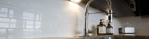 Mission Subway Tile White Glossy Wall