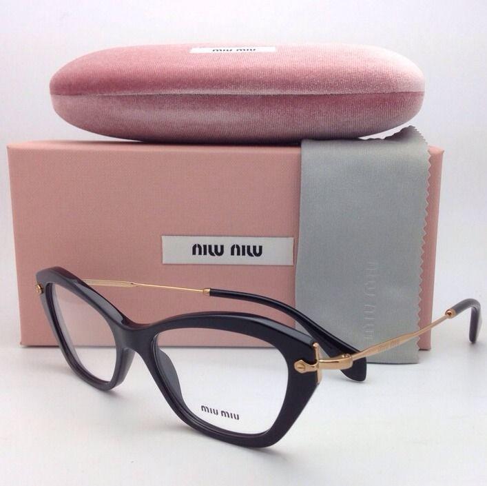 8451a1d46215 New MIU MIU Eyeglasses VMU 04L 1AB-1O1 52-17 Black w  Gold Cat Eye Frame w   Demo  MiuMiu