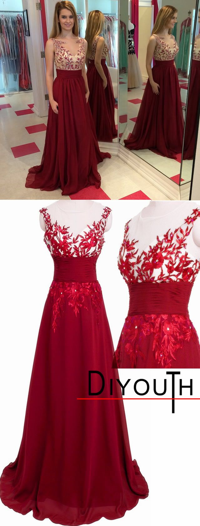 Full-length Red Chiffon Illusion Neck Floral Evening Prom Dress,red evening dresses,lace prom dress,open back cocktail dresses,formal dresses