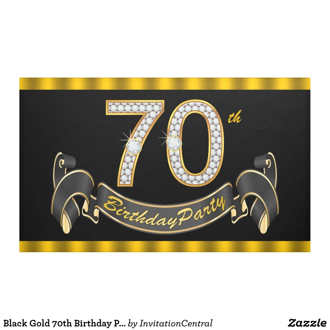 Trolls Happy Birthday Banner We Can Easily Add An: Black Gold 70th Birthday Party Banner