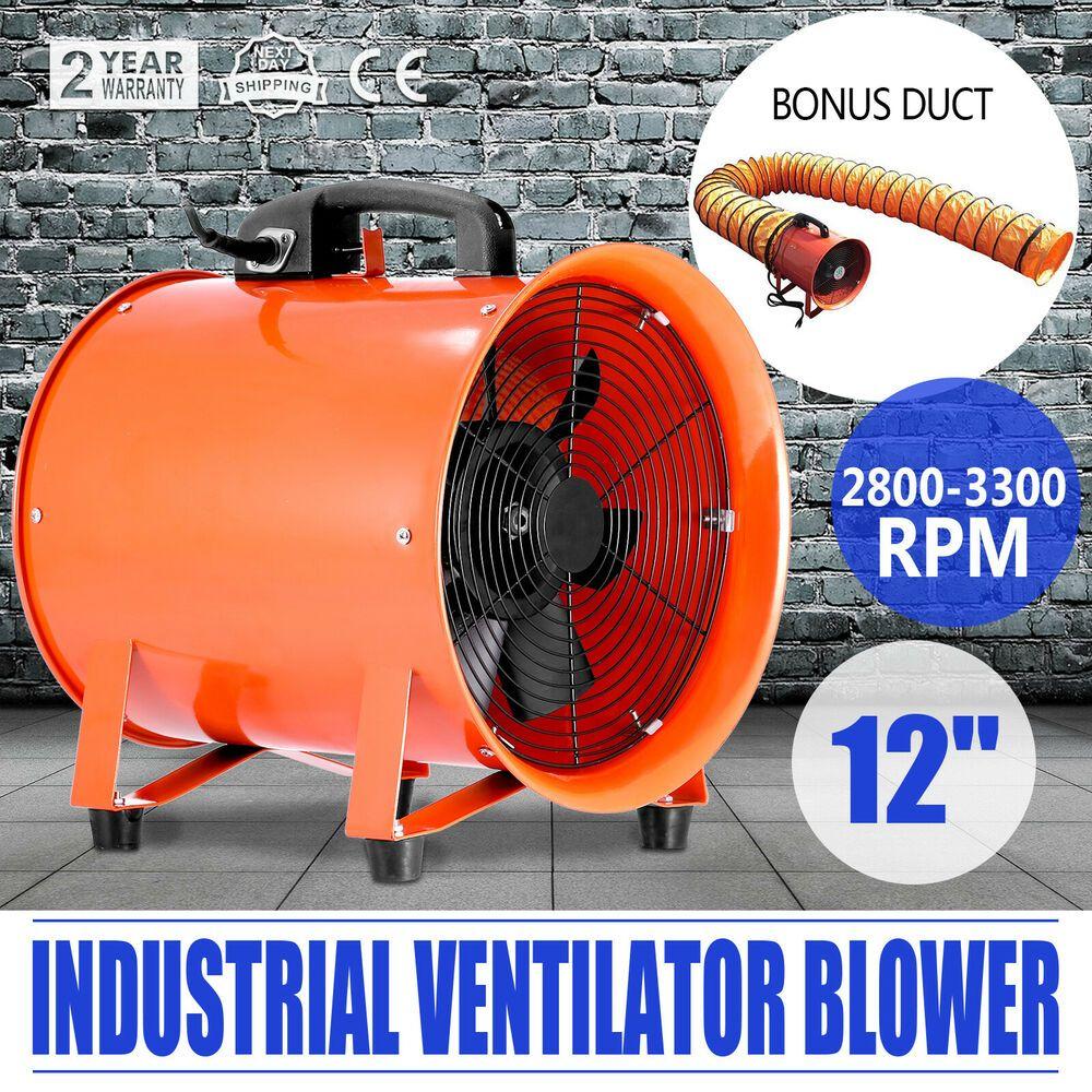 300mm Industriel Ventilateur 5m Pvc Conduit Souterrain Faible Bruit W Poignee Ventilation Ventilateur Souterrain