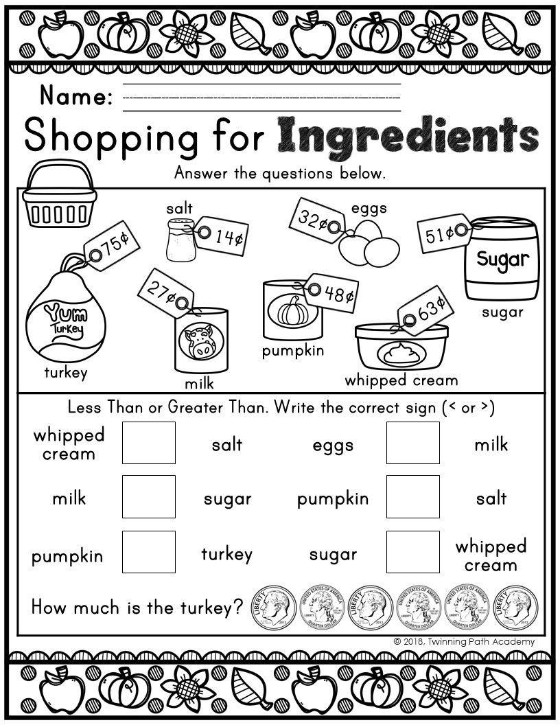 Thanksgiving Money Practice Thanksgiving Kindergarten Christmas Teaching Struggling Math Students [ 1056 x 816 Pixel ]