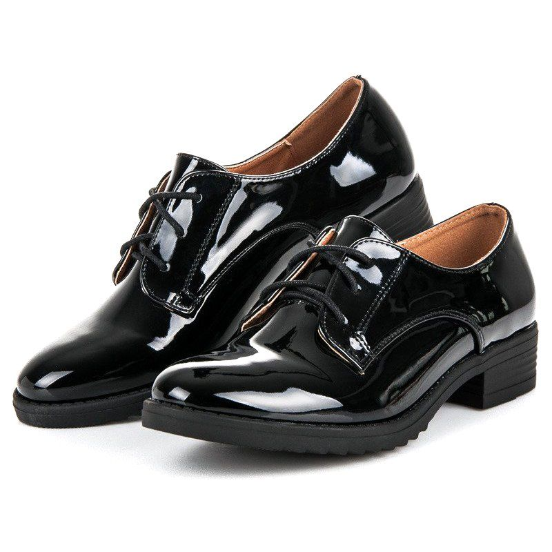 Lovery Eleganckie Lakierowane Polbuty Czarne Oxford Shoes Womens Oxfords Shoes