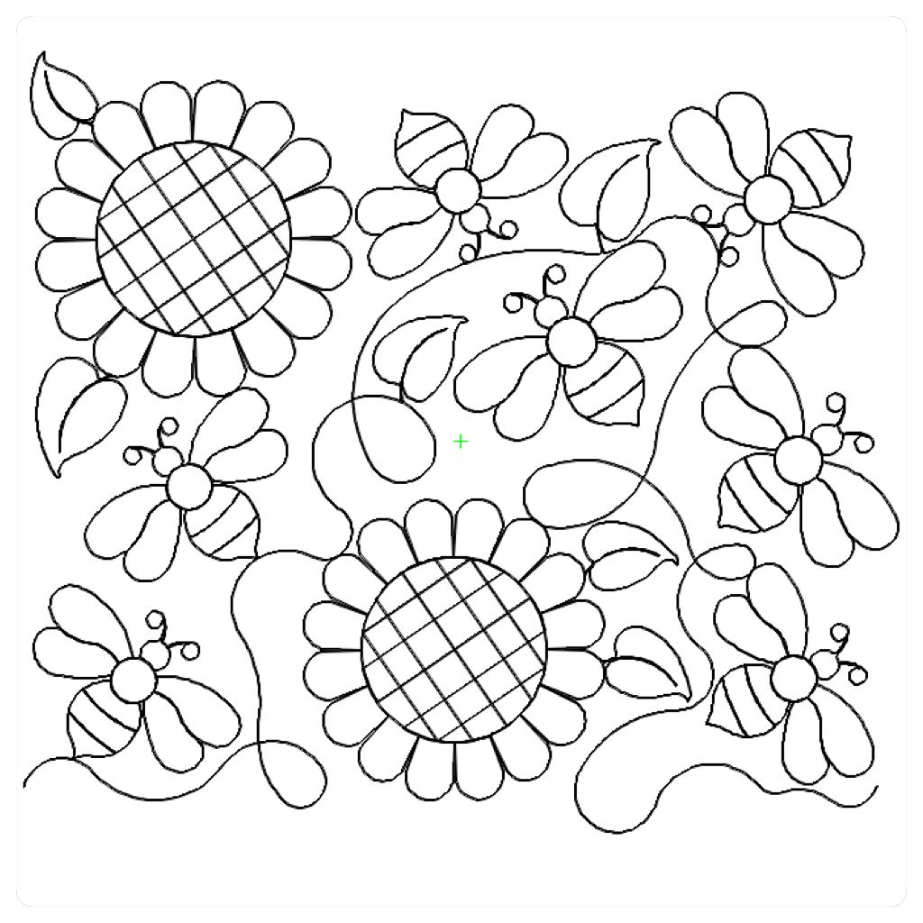 Bees and sunflower floral longarm quilt patterns pinterest