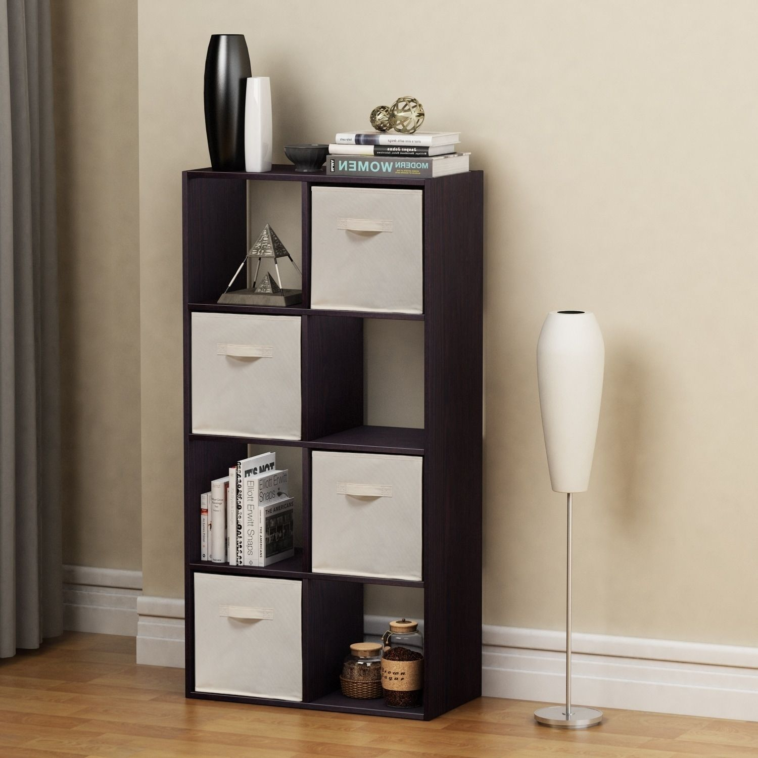 Homestar cube with fabric bins in black brown finish fabric bins