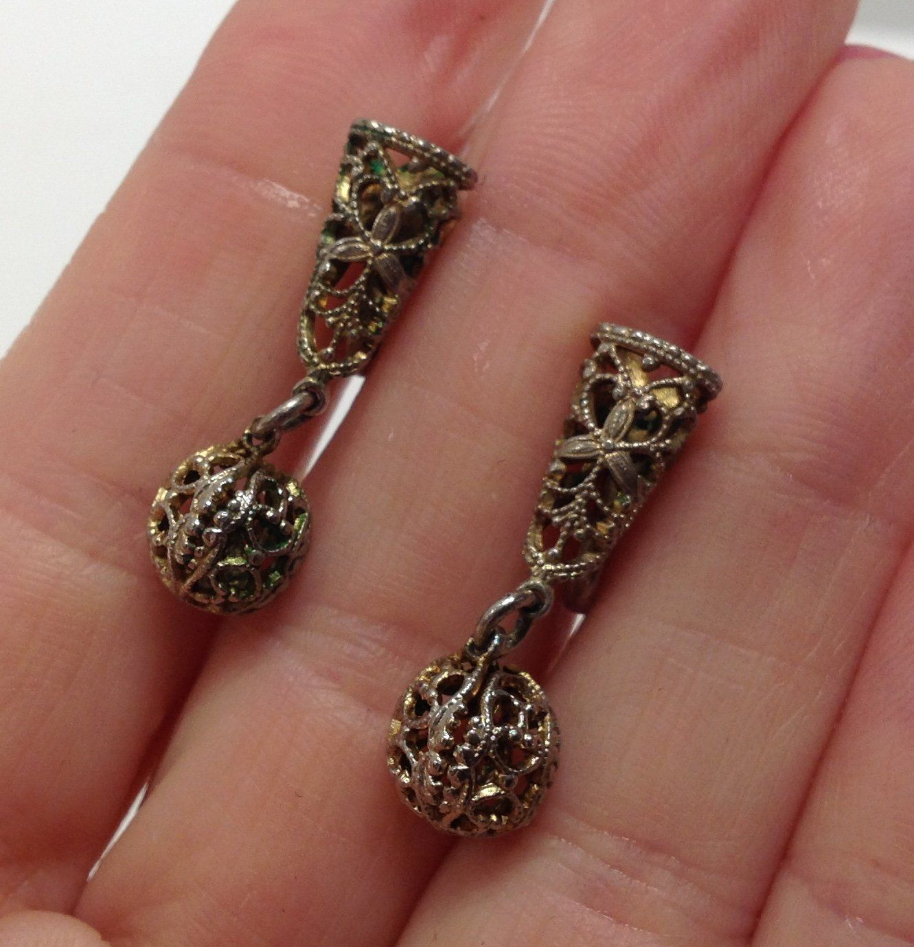 Vintage Silver Filigree Dangle Screw Back Earrings   Etsy