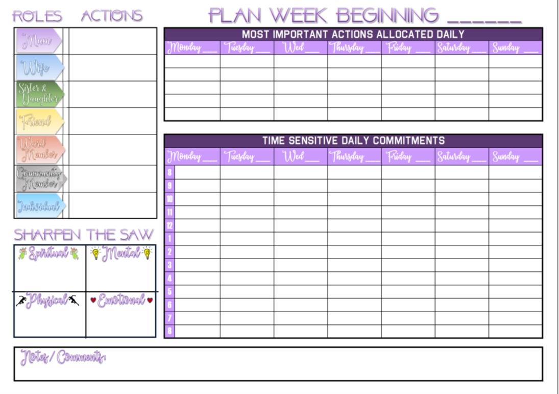 7 Habits Calendar Template 24 7 Calendar Template