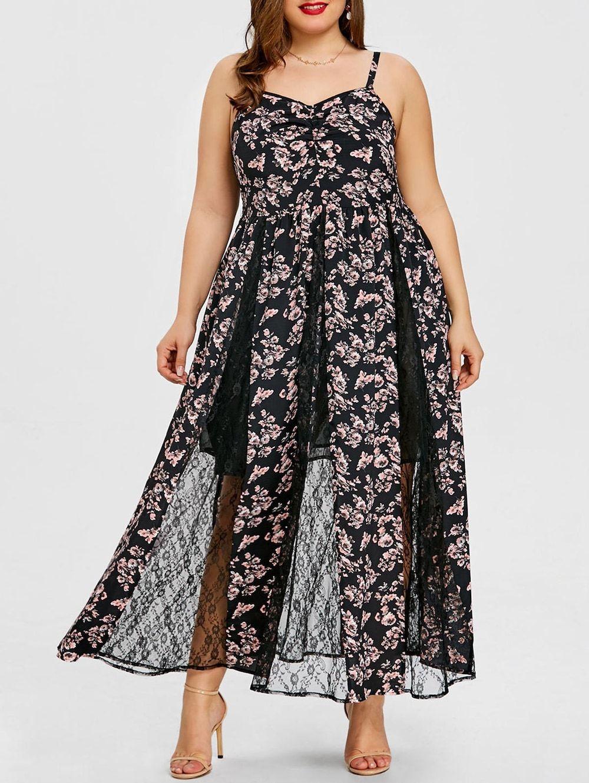 Plus Size Floral Lace Insert Maxi Dress