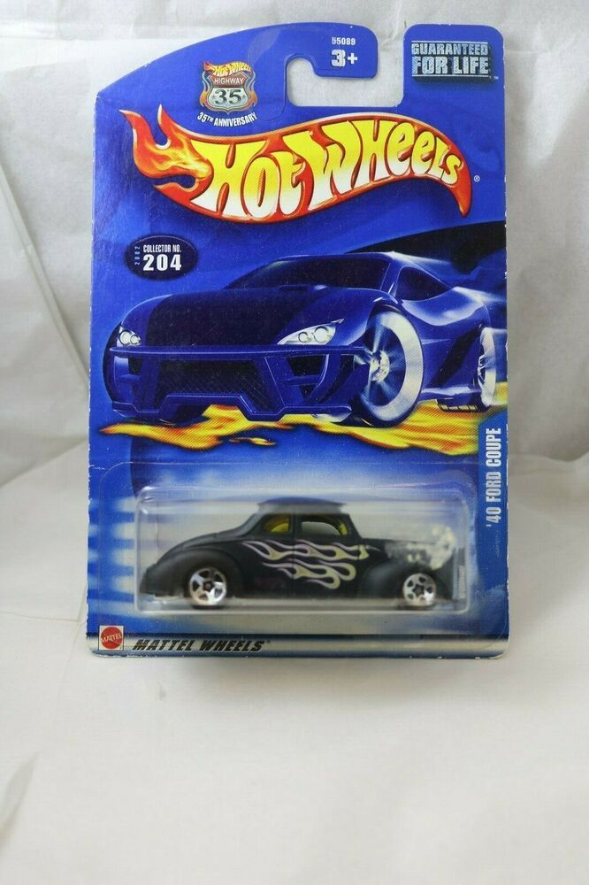 Hot Wheels '40 Ford Coupe 2002 collector black great tampos shelf wear card