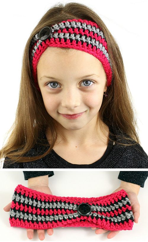 How pretty is this? SO lovely. Striped Pinched Crochet Headband ...