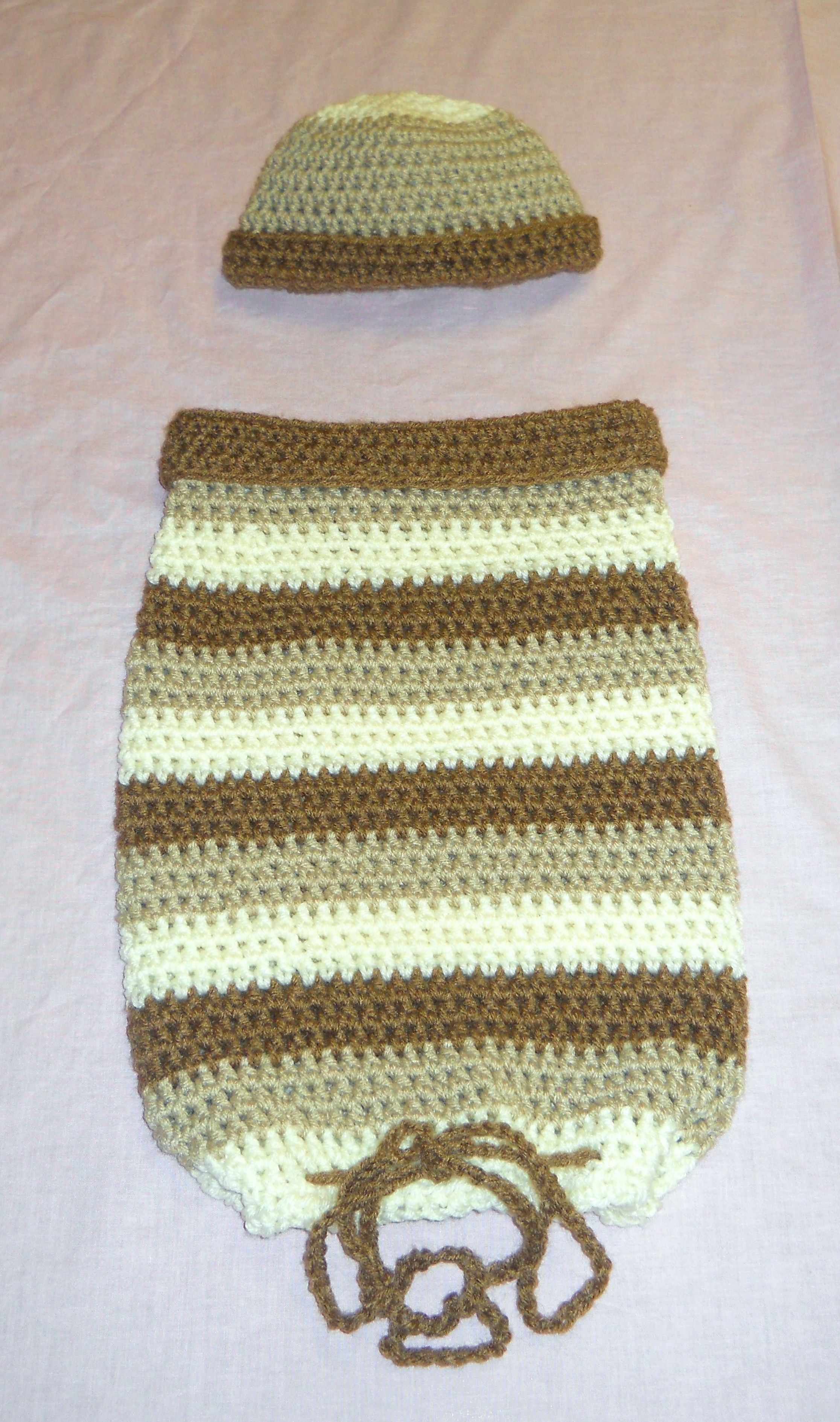 Baby cocoon with drawstring closure and cap that I made. | Crochet ...