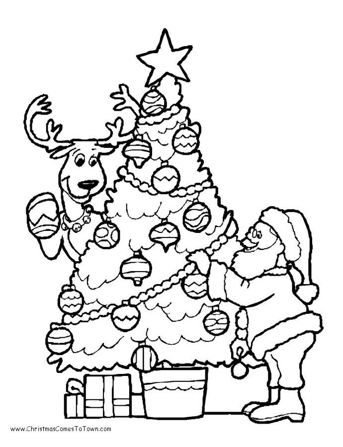 Christmas Tree with Santa Coloring Page | Kids | Pinterest ...