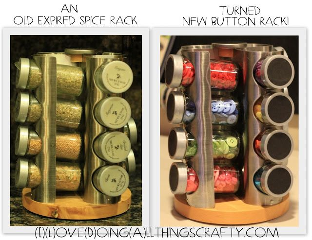 Spice Rack turned Button/Craft Rack -DIY I think I could use this in my class! Use it in a center to store word families, tiles, small manipulatives, or on my desk to organize all my stuff! Love this!