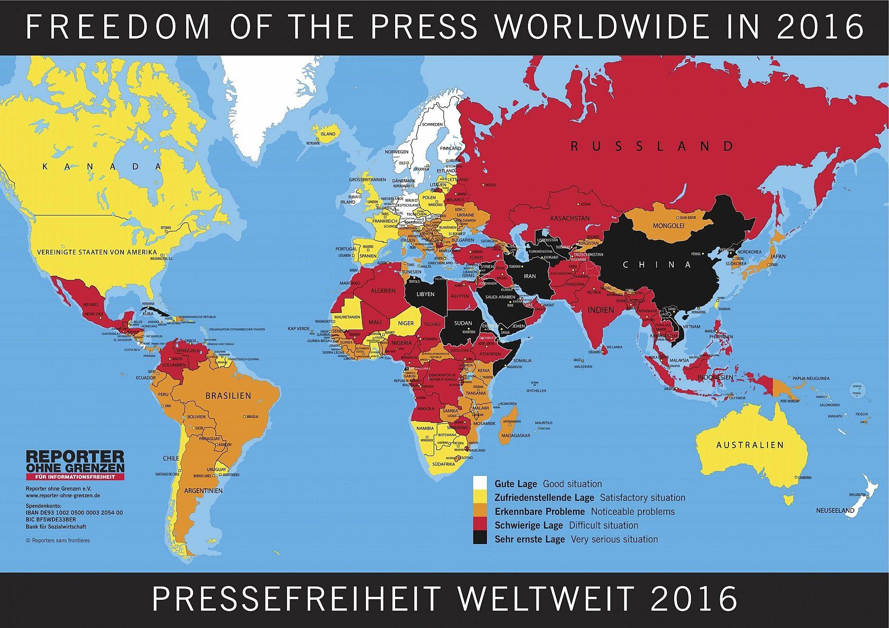 Rangliste Der Pressefreiheit 2016 Reporter Ohne Grenzen Fur