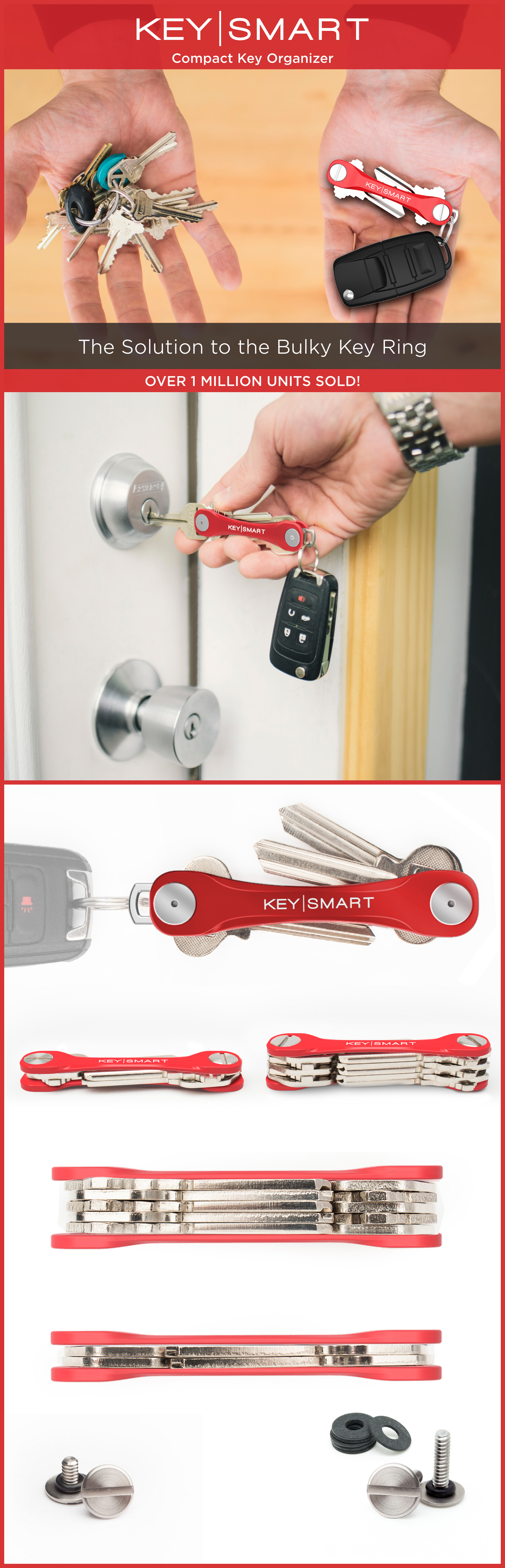 Upgrade and organize your key ring with this awesome key holder! Its super minimal design combined with lightweight materials makes for a much more convenient way to unlock your doors. There's a whole bunch of different attachments to customize your own. Use coupon code ORGANIZE15 this month for 15% off!