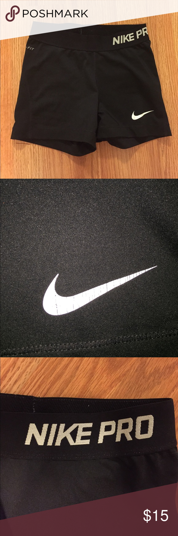 Nike Pro Spandex Black Nike Pro spandex. They are 3 inches. Thick waistband and no holes or rips. The swoosh has some cracks in the print which is shown in the picture. Nike Shorts