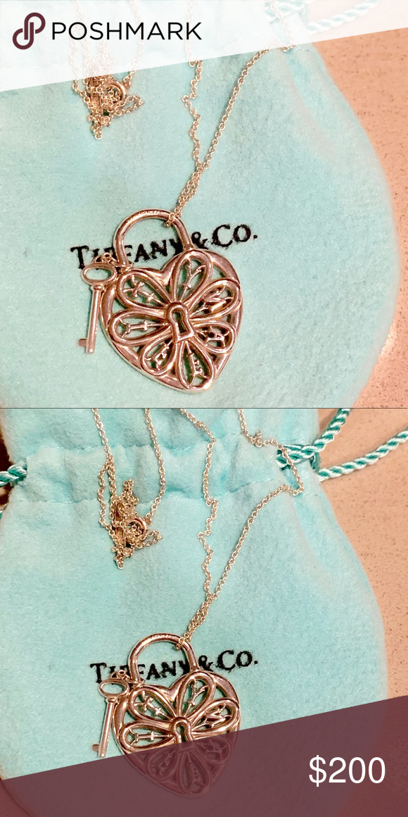 Tiffany And Co Heart Lock With Key Necklace Tiffany Key Necklace Tiffany And Co Key Necklace