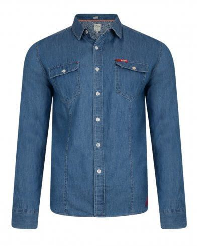 0db3c98b8 Quality slim fit denim shirt by Lee Cooper with full-length sleeves. The  shirt fastens with regular buttons. The style features double chest pocket  with ...