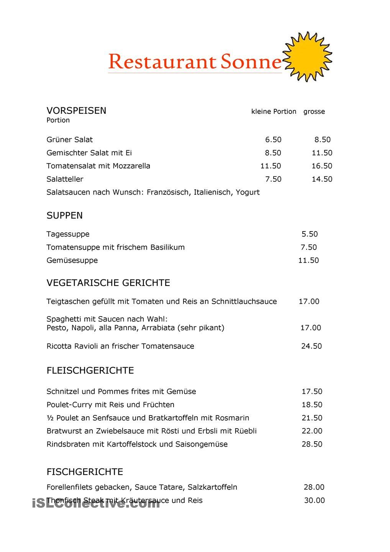 Speisekarte | Deutsch | Pinterest