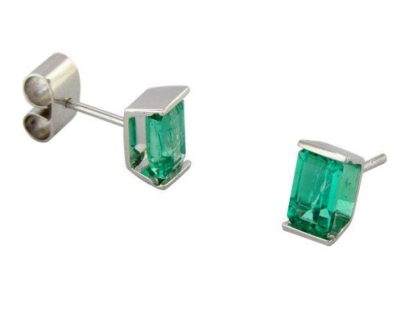 Tension Setting Emerald Stud Earrings Custom Made In 18k