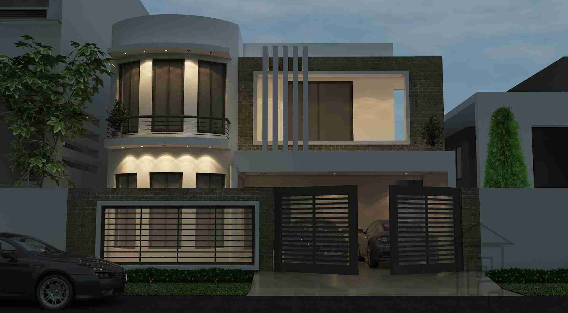 Front Elevation 10 Marla House : Marla house with front elevation and layout plans has