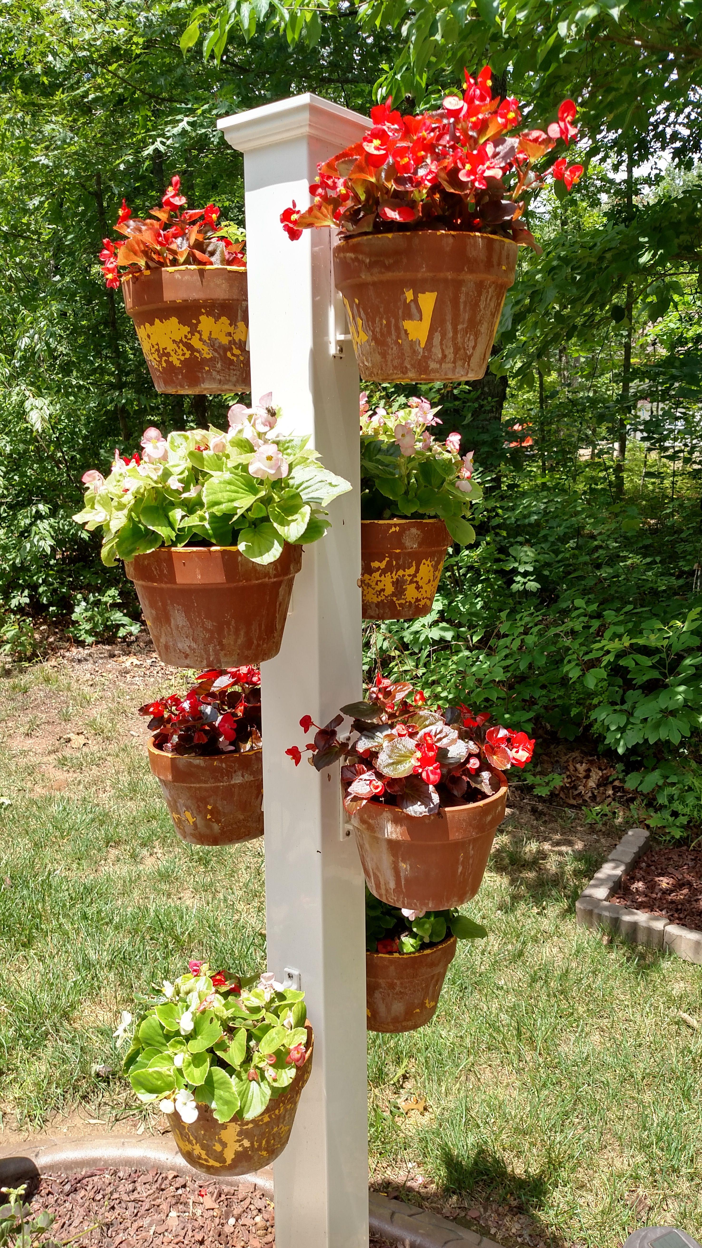 Vertical Pole Garden Made Easy With Hangapot Hangapot Hangers Securely Hang Clay Pot 4 10 On Any Su Backyard Herb Garden Container Garden Design Garden Poles