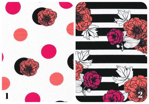 Crib Sheet | Changing Pad Cover | Black White Coral Pink Floral Flowers Dots Stripes Bright Modern Trendy Feminine Baby Girl Nursery Bedding