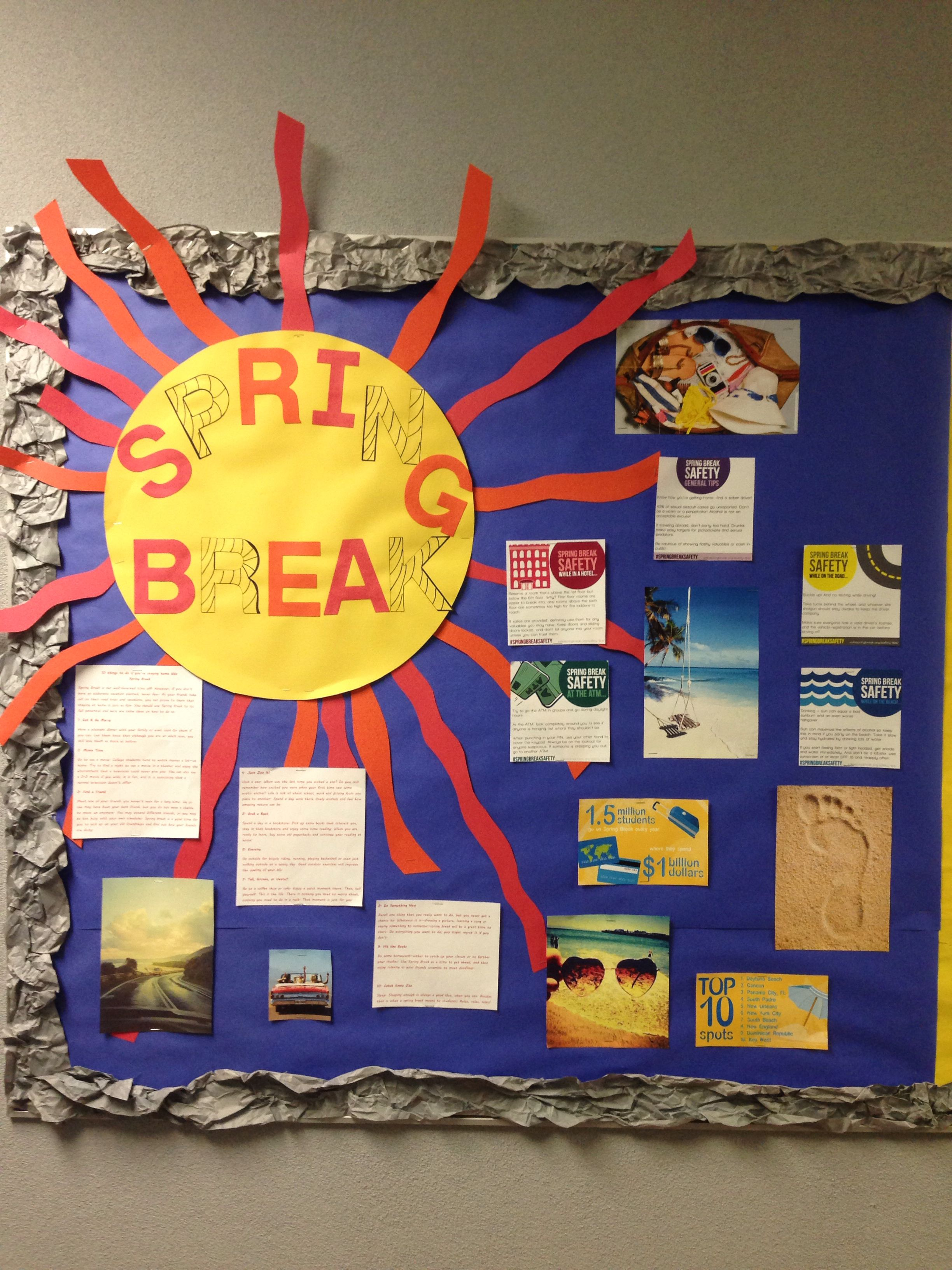 Spring Break Bulletin Board dorm RA Spring break