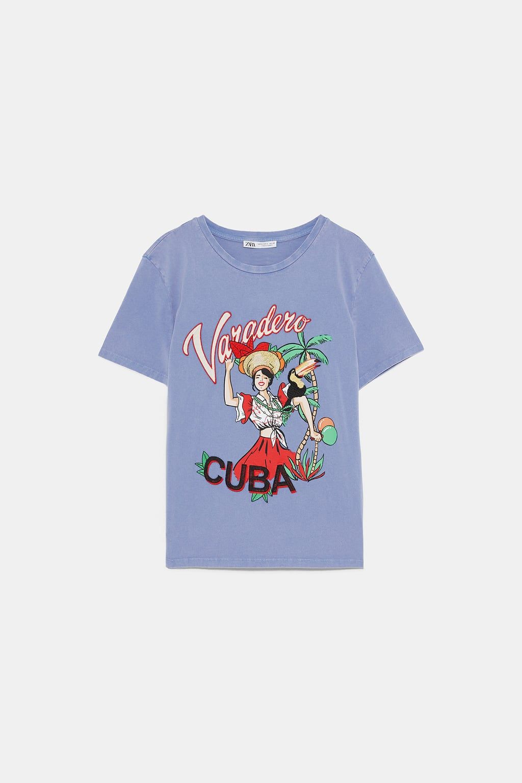 5c69bb5f89 Embroidered faded-effect t-shirt in 2019 | Zara | Shirts, T shirt ...