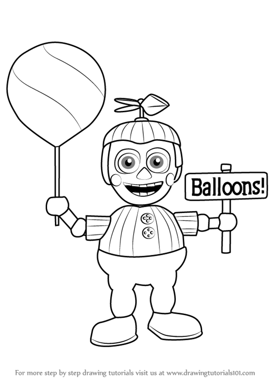Step By Step How To Draw Balloon Boy From Five Nights At Freddy S Drawingtutorials101 Com In 2020 Coloring Pages For Boys Boy Coloring Coloring Pages