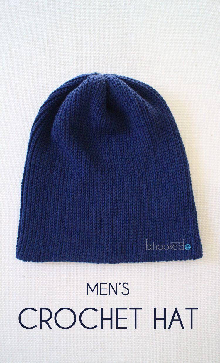 Men\'s Crochet Hat - Free Pattern   Stricken häkeln, Mütze und Häkeln