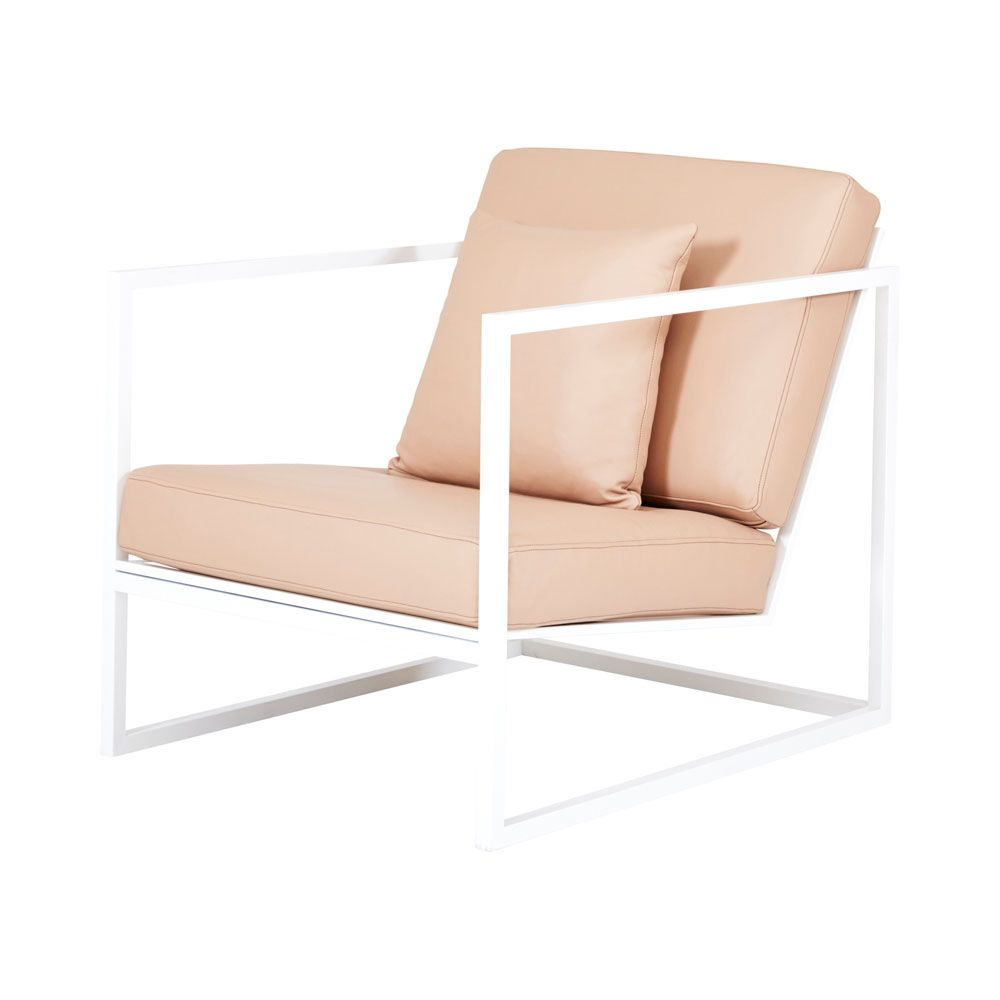 This white metal frame and natural leather armchair is a modern and designer accent chair for your living room. Sit back and relax in style.