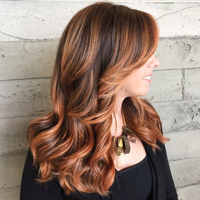 Beautiful copper highlights on this hair by stylist Alexis at Butterfly Loft salon in Encino, Los Angeles.
