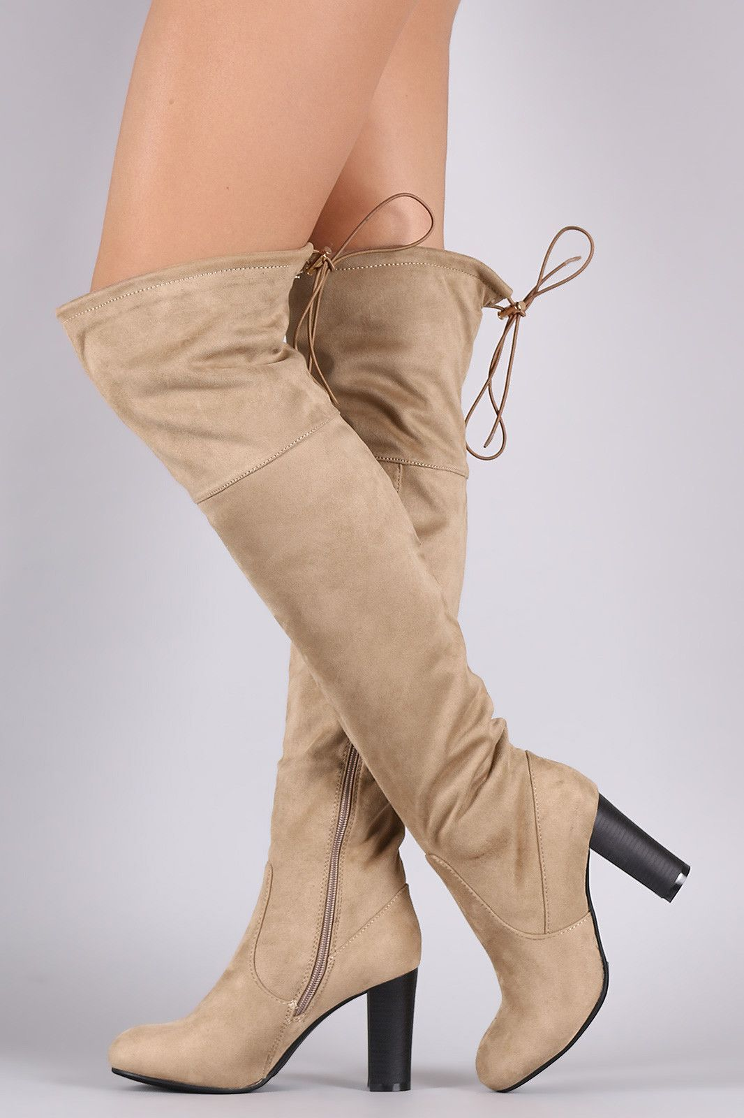 6a35d22fc11b Suede Drawstring-Tie Chunky Heeled Boots. These over the knee boots ...