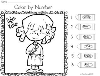 Helen Keller Color By Number Helen Keller Color Numbers
