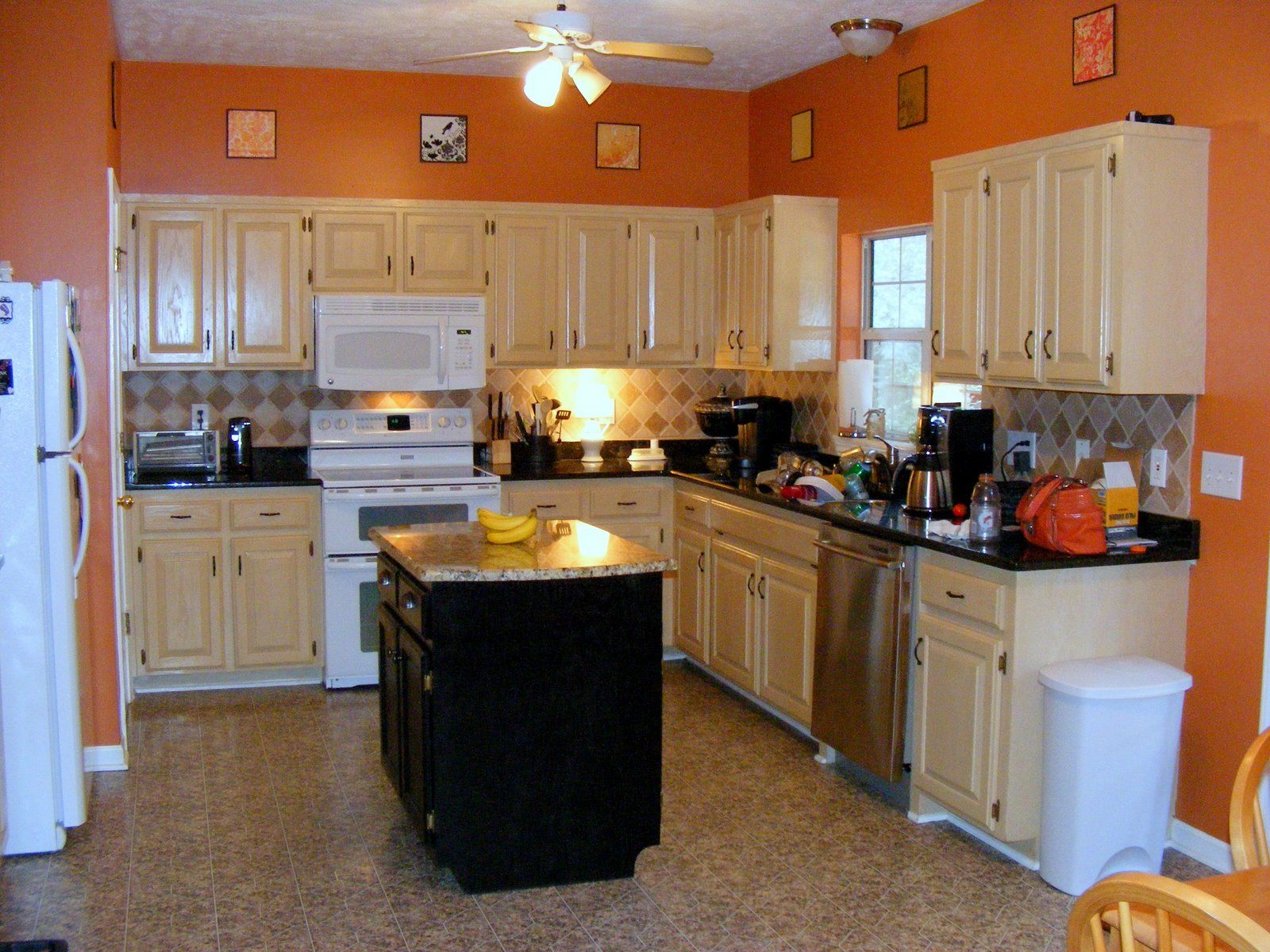 Image Result For Kitchen Color Ideas With Wood Cabinets And White Appliances Orange Kitchen Walls Small Kitchen Colors Kitchen Design