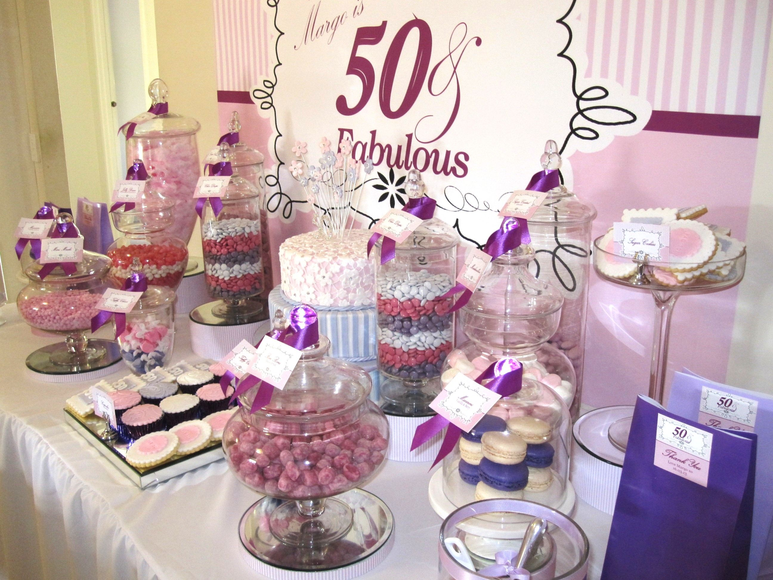 Sweet amp sparkly wedding candy buffet pictures to pin on pinterest - 50 Fabulous Birthday Candy Buffet With Purple Pink White Colour Scheme