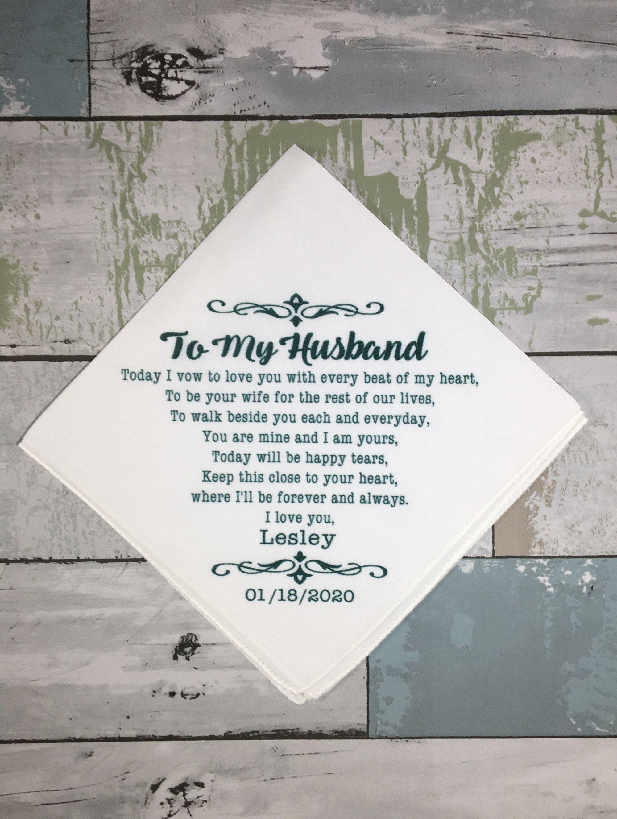 Custom Bride To Groom Wedding Gift Personalized Groom Gift Etsy In 2020 Wedding Handkerchief Personalized Handkerchief Wedding Wedding Day Gifts
