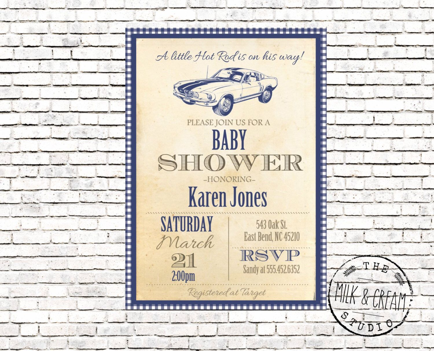 Little Hot Rod Vintage Baby Shower Invite, Invitation with Classic ...