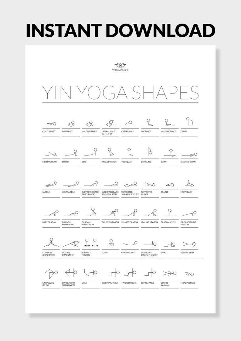 48 Yin Yoga Postures Printable Pdf Yin Yoga Poster With Etsy Yin Yoga Yin Yoga Poses Restorative Yoga Poses